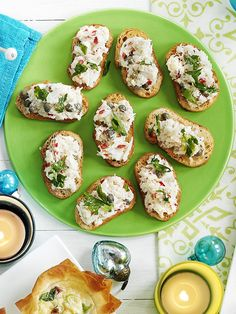Light and delicate crab crostini make perfect canapés for drinks parties. Make the crab mix and toast the baguette ahead, but don't assemble until ready to eat as the bread will become soggy.