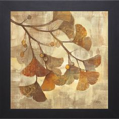 Artist: Hristova Title: Gingko Product type: Framed Artwork Style: Other Format: Square Size: Large Subject: Floral Frame: Espresso Image dimensions: 18 inches x 18 inches Outer dimensions: 22 inches