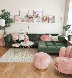 Living Room Green, Home Living Room, Living Room Designs, Pastel Living Room, Green Living Rooms, Colourful Living Room, Living Room With Chairs, Quirky Living Room Ideas, Living Room Apartment