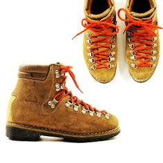 SALE 70s Eiger Suede Lace Up Hiking Boots with Red Laces / Men's sz 6.5 / Women's sz 8