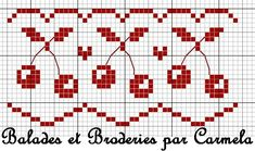 Free cherry border chart by Balades et Broderies.