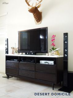 Before and After: Mid-Century Modern Dresser Turned Entertainment Center » Curbly | DIY Design Community