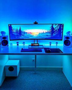 Best Gaming Setup, Gamer Setup, Gaming Room Setup, Pc Setup, Computer Gaming Room, Computer Desk Setup, Computer Technology, Computer Workstation, Video Game Rooms