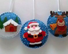 Voelde Kerst ornamenten, Santa clausule ornament, sieraad van rendieren, Kerstdorp ornament decoratie van Kerstmis, Xmas voelde ornamenten