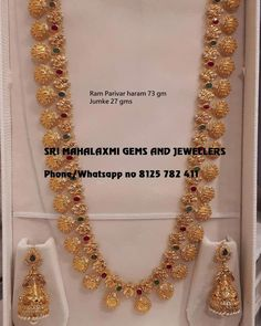 Best designs of Ram parivar harams made in minimum wt n perfect finish. Long haaram with Ram Parivar kasu hangings. Long haaram with matching jumkhis. Visit for full range at wholesale prices. Contact no 8125 782 411 . 23 May 2019 Gold Temple Jewellery, Gold Wedding Jewelry, Gold Jewelry Simple, Bridal Jewelry, Simple Necklace, Bridal Necklace, Jewelry Design Earrings, Gold Earrings Designs, Gold Jewellery Design