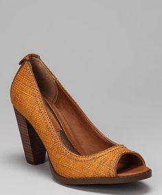 Take a look at this Calvin Klein Jeans Honey Raffia Drina Peep-Toe Pump on zulily today!