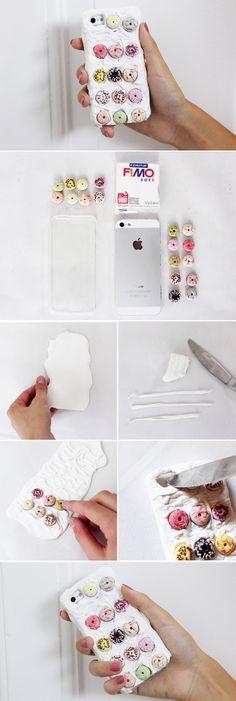 DIY Handyhüllen mit Fimo und Donuts selber basteln & gestalten
