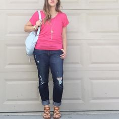 Hot Pink Top V-neck dolman blouse with butterfly sleeves. Made of 95% rayon/5%spandex. Great casual Valentine's Day top. Tops