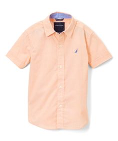 Orange Short-Sleeve Button-Up - Boys