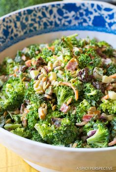 The Best Broccoli Salad Recipe, possibly, in the whole world. This spin on the classic southern broccoli salad is loaded with goodies like bacon and sweet