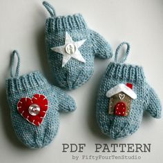 Mitten Christmas Ornament knitting pattern by Fifty FourTen Studio. Felt applique designs for heart, star, gingerbread house and snowman included in the pattern. These mini mittens make great gifts and are the perfect size to hold a gift card!