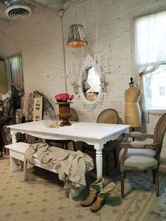 Painted Cottage Chic Shabby White Farm Table