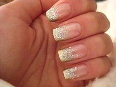 French Gold & Silver Glitter Manicure