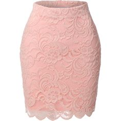 LE3NO Womens High Waisted Floral Lace Scallop Hem Skirt ($12) ❤ liked on Polyvore featuring skirts, bottoms, saias, floral lace skirt, pink pencil skirt, pink high waisted skirt, high-waisted skirts and floral print skirt