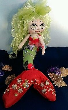 Handmade Cloth Rag Doll,  Gothic Mermaid,  Jewel, OOAK , Collectable by Bianca