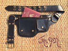 Leather Pocket Utility Belt ~ The Hipster -3 Colors - Iphone wallet, Passport,Travel bag,Steampunk,Fanny Pack, Hip Purse,Pocket,Burning Man