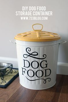 DIY Dog Food Storage Container Idea. I love this idea! Perfect storage solution for that big, bulky bag of dog food that is taking up space in the closet.
