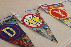DIY Superhero Birthday Party Banner (FREE Printables & Tutorial) |