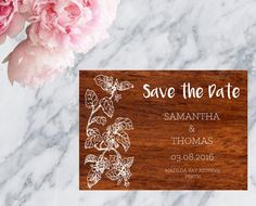 Wood Look Printable Wedding Invitation Save The Date - Print at home save the date by MarielleStudios on Etsy