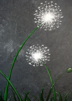 Make a Wish - Artist Nancy DESPINS  Close up Make A Wish, How To Make, Close Up, Pear, Dandelion, Prints, Artist, Flowers, Blue