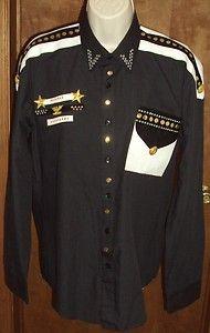 Mans Medium Mardel Shirt Black White Rhinestones Gold Eagle Stars Costume Dance