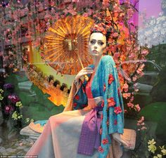 Exclusive look at Harrods' magical fairy-tales meet fashion Christmas window display. Mulan, the Japanese princess' outfit is the work of Missoni
