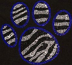 Rhinestone Iron On DIY Blue Zebra Paw Rhinestone by BlingMeBaby, $11.99
