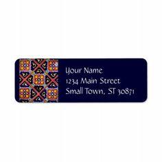 Cobalt Blue Burnt Orange Southwestern Tile Design Custom Return Address Label  #SOLD on #Zazzle