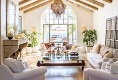 Rosa Beltran Design Exposed Wood Beams And White Painted