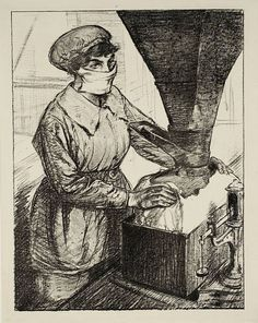Women's Work: On Munitions - Dangerous Work (Packing T.N.T.) circa 1917 by Archibald Standish Hartrick 1864-1950