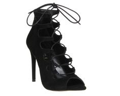Buy Black Suede Office Parisian Lace Up High Heel Sandals from OFFICE.co.uk.