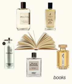 Some scents that remind us of the smell of books: Vanille Insensee, Biblioteca de Babel, Aoud Cuir d'Arabie, Paper Passion, and Dzing! #niche #perfume #luckyscent