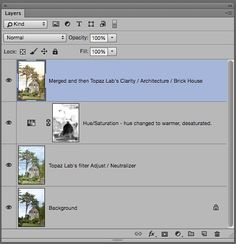 Photoshop layer panel for post-processing