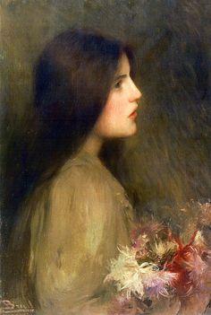 Joan Brull i Vinyoles (Spanish, 1863-1912). Noia amb flors (Girl with flowers)