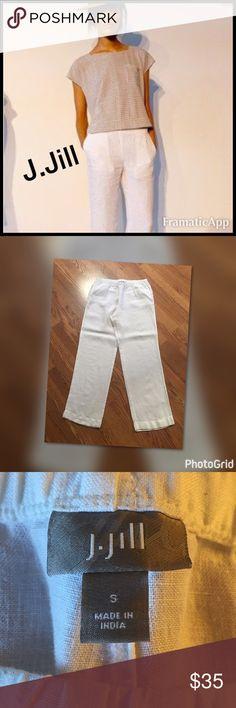 "🎼 Portland 🎼 J.Jill brand Excellent condition - like new White Elastic waistband  2 front pockets Wide legs Great for 3 seasons 100% linen Machine washable  -waist 32"" -hips 40"" -front rise 10"", back 12"" -leg inseam 31"" J. Jill Pants Wide Leg"