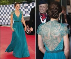 Kate Middleton wows on the red carpet in a turquoise Jenny Packham dress