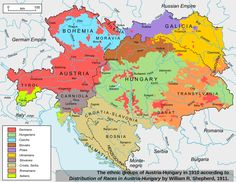 This map shows the ethnic divisions of the Austro-Hungarian empire, as of 1910.