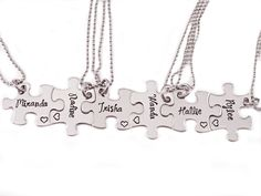 Bridesmaid Gift Puzzle Piece Necklace Set 6 by Stampressions
