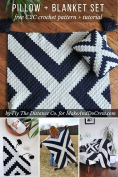Modern corner to corner crochet blanket and pillow set. Change up the colors for a baby nursery! Free pattern and tutorial. crochet patterns Modern Corner to Corner Crochet Blanket Pattern - Free Pattern C2c Crochet Blanket, Crochet Pillow, Crochet Blanket Patterns, Diy Crochet, Crochet Crafts, Crochet Projects, Knitting Patterns, Crochet Blankets, Modern Crochet Blanket