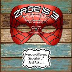 Spiderman Spider Man Mask Birthday Digital Invitation & Free Thank You Card on Etsy, $14.51 CAD