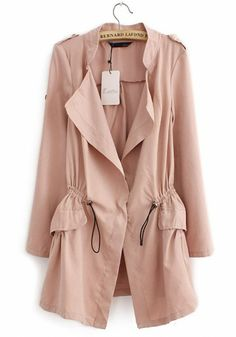 Pink Drawstring Notch Lapel Cotton Blend Trench Coat