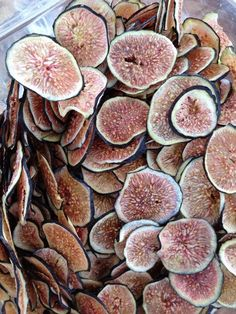 "Fig Chips…RECIPE  4-6 medium figs —- Makes 2-4 cups  1. Preheat oven to 425 degrees.   2. Using a chef's knife, thinly slice figs 1/8""-1/4"" thick.   3. Place the figs on a lined sheet tray.   4. Bake until figs are dry, about 5-10 minutes. Let figs cool on tray."