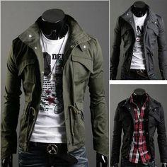 New Men's Military Slim Fit Jacket Coat Rider Zip Button Jacket | eBay