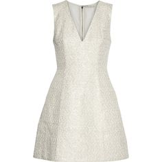 Alice + Olivia Pacey metallic cotton-blend tweed mini dress (8,425 MXN) ❤ liked on Polyvore featuring dresses, white, short fit and flare dress, transparent dress, short white dresses, plunging neckline dress and fit & flare dress