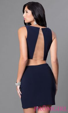 Navy Two Piece Sheer Back Homecoming Dress
