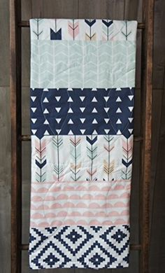 Color scheme: navy, pale pink, mint green, white Baby Girl Quilt Baby/Toddler Blanket Woodland by Babylooms Diy Baby Girl Blankets, Easy Baby Blanket, Toddler Blanket, Crib Blanket, Quilt Baby, Baby Girl Quilts, Girls Quilts, Nursery Crib, Crib Bedding
