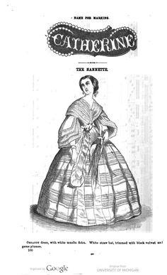 1861 August fashion plate, organdy dress.