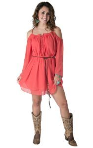 Double Zero Women's Coral Off The Shoudler Long Sleeve Dress | Cavender's