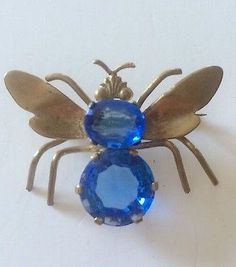 Vintage 40's Sapphire Blue Rhinestone & Brass Figural Bug Bee Wasp Fly Insect Brooch Pin ~ Older C Clasp