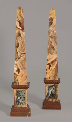 A pair of Italian Marble Obelisks of different colours - Early XX Century - H. Stone Sculptures, Candle Sticks, Italian Marble, Grand Tour, Store Design, Libraries, Different Colors, Rocks, Gems